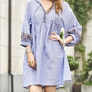 White & Blue Stripe Embroidery Accent Tunic Dress